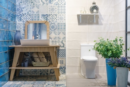 High-End Country Powder Room