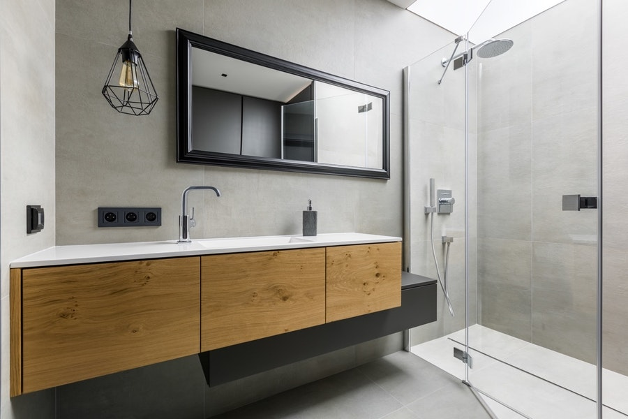 High-End Industrial Guest Bathroom